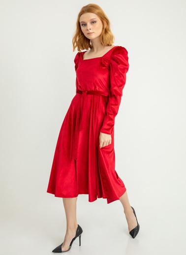 Foremia Karpuz Kol İnci Kadife Elbise Kırmızı